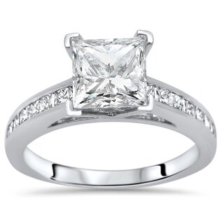 Noori 1 1/4ct Princess Cut Moissanite Center 1/2ct Diamond Surrounding Engagement Ring 14k White Gold