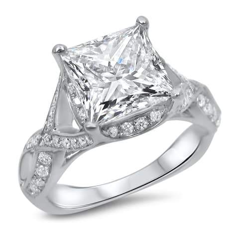2ct Princess Cut Moissanite Center 2/5ct Diamond Surrounding Engagement Ring 18k White Gold