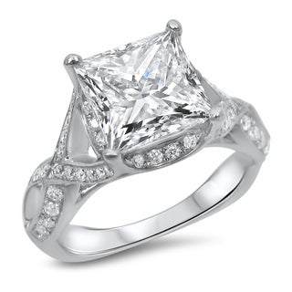 Noori 2ct Princess Cut Moissanite Center 2/5ct Diamond Surrounding Engagement Ring 18k White Gold