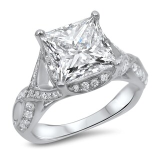 Noori 2ct Princess Cut Moissanite Center 2/5ct Diamond Surrounding Engagement Ring 18k White Gold (More options available)