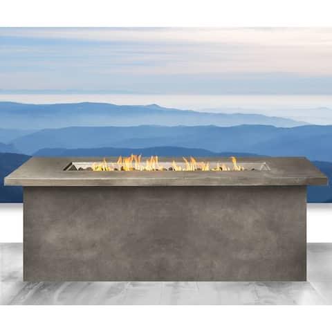 Living Source International Santiago Grey Cast Concrete Internal Tank Fire Pit Table