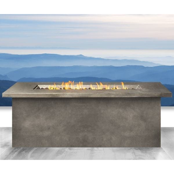 Living Source International Santiago Grey Cast Concrete Internal Tank Fire Pit Table