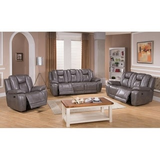 Withia Leather Power Sofa, Loveseat and Chair Recliner Set