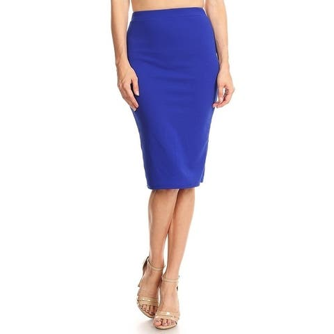 Women's Solid Bubble Crepe Pencil Skirt