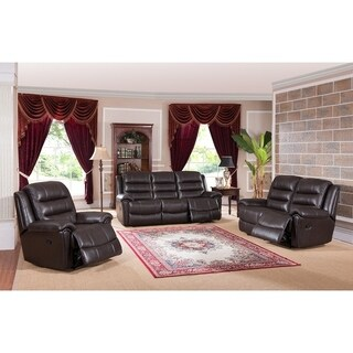 Brookville Leather Sofa, Loveseat and Chair Recliner Set