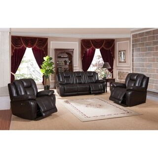 Haines Leather Power Sofa and Two Chairs Recliner Set