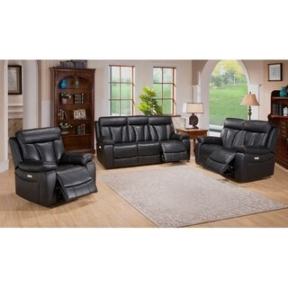 Leo Leather Power Sofa, Loveseat and Chair Recliner Set
