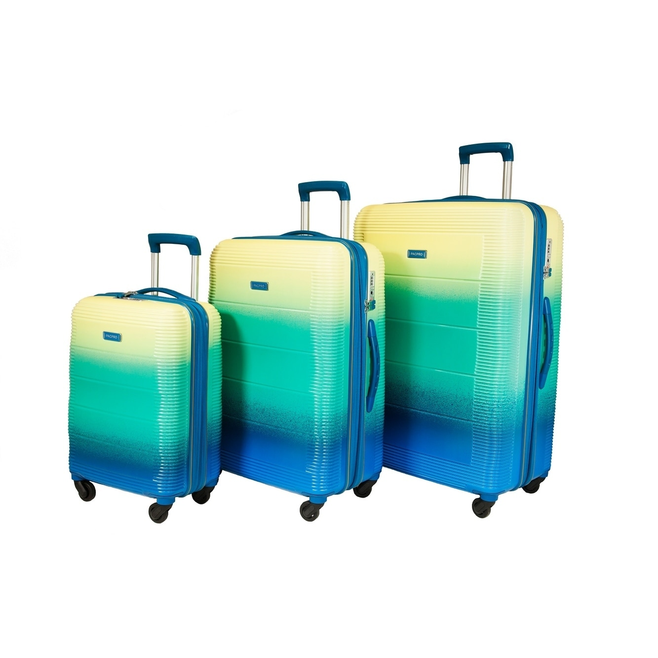 386d16101 Shop Pacpro Glossy 3-piece Hardside Spinner Luggage Set - Free Shipping  Today - Overstock - 17541358