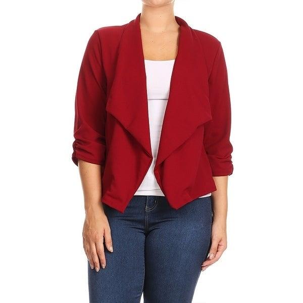 Womens Plus Size Solid Color Blazer Draped Neck Jacket