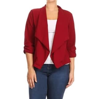Women's Plus Size Solid Color Blazer Draped Neck Jacket (Option: Pink)|https://ak1.ostkcdn.com/images/products/17541645/P23762450.jpg?impolicy=medium
