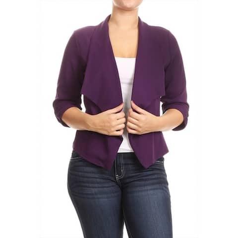 Women's Plus Size Solid Color Blazer Draped Neck Jacket