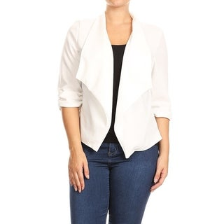 Women's Plus Size Solid Color Blazer Draped Neck Jacket (More options available)