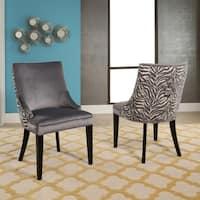 Abbyson Esther Grey Velvet Zebra Dining Chair (Set of 2)