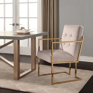 Abbyson Fraser Gold Stainless Steel and Velvet Arm Chair