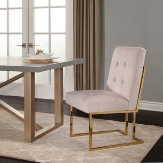 Abbyson Fraser Gold Stainless Steel Velvet Dining Chair
