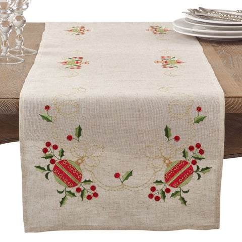 Embroidered Ornament Holiday Linen Blend Table Runner