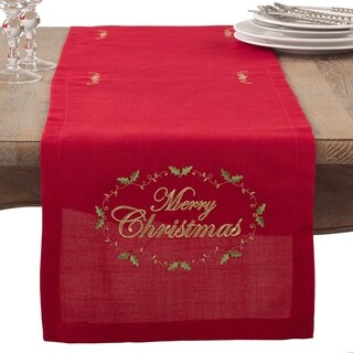 Merry Christmas Embroidered Holiday Table Runner