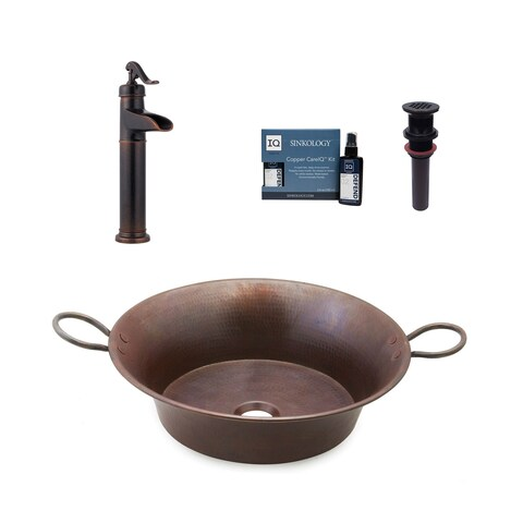 """Sinkology Copernicus 21"""" All-in-One Copper Sink & Faucet Kit"""