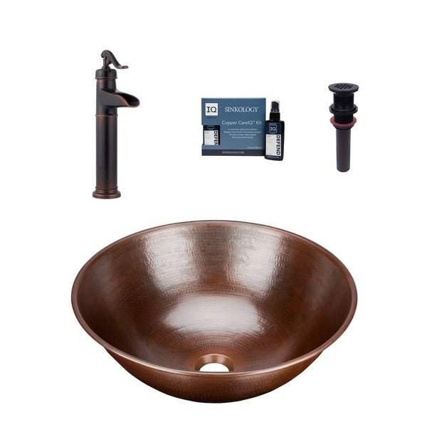 "Sinkology Eddington 16""All-in-One Copper Sink and Faucet Kit"