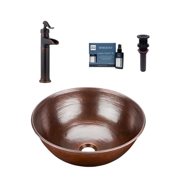 """Sinkology Hubble 14"""" All-in-One Copper Sink and Faucet Kit. Opens flyout."""