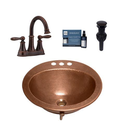 "Sinkology Bell 19"" All-in-One Copper Sink and Faucet Kit"