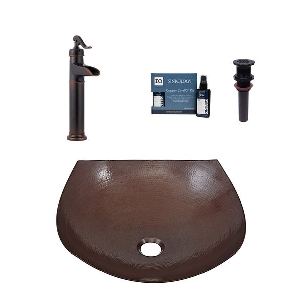 """Sinkology Lovelace 16"""" All-in-Copper One Sink and Faucet Kit - 16.5"""" x 16.5"""" x 5.5"""". Opens flyout."""
