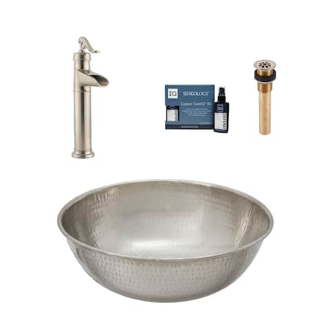 """Sinkology Bohr 14"""" All-in-One Nickel Sink and Faucet Kit"""