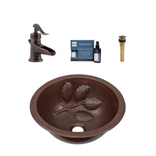"Sinkology Newton 14"" All-in-One Copper Sink and Faucet Kit"