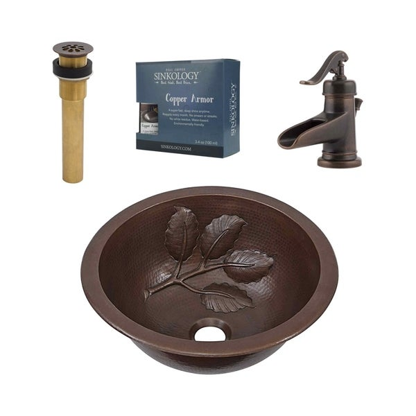 """Sinkology Newton 14"""" All-in-One Copper Sink and Faucet Kit"""
