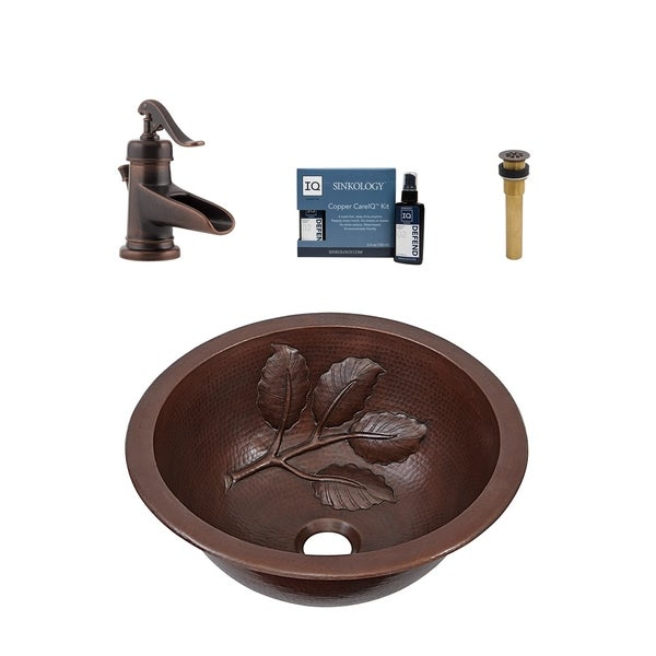 """Sinkology Newton 14"""" All-in-One Copper Sink and Faucet Kit. Opens flyout."""