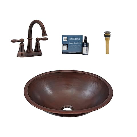 """Sinkology Schrodinger 17"""" All-in-One Copper Sink and Faucet Kit"""