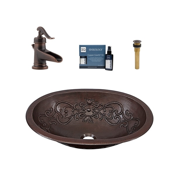 """Sinkology Pauling 19"""" All-in-One Copper Sink and Faucet Kit. Opens flyout."""