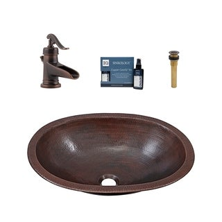 "Sinkology Wallace 19"" All-in-One Copper Sink and Faucet Kit"