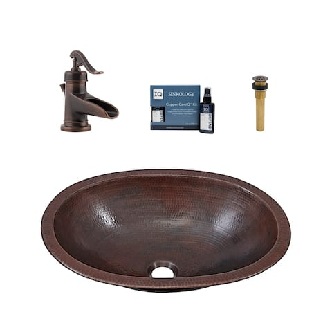 """Sinkology Wallace 19"""" All-in-One Copper Sink and Faucet Kit"""