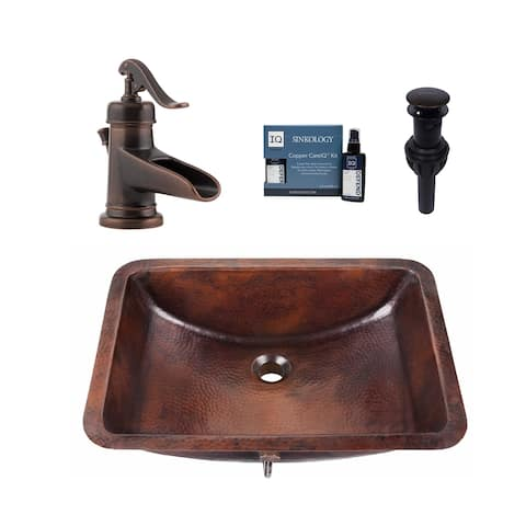 "Sinkology Curie 21"" All-in-One Copper Sink and Faucet Kit"