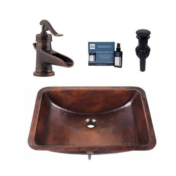 "Sinkology Curie 21"" All-in-One Copper Sink and Faucet Kit. Opens flyout."