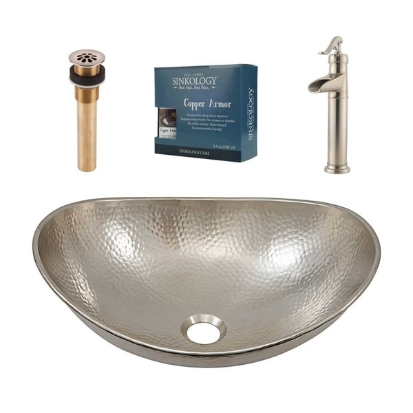 """Sinkology Hobbes 19"""" All-in-One Nickel Sink and Faucet Kit"""