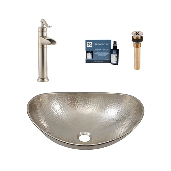 """Sinkology Hobbes 19"""" All-in-One Nickel Sink and Faucet Kit. Opens flyout."""