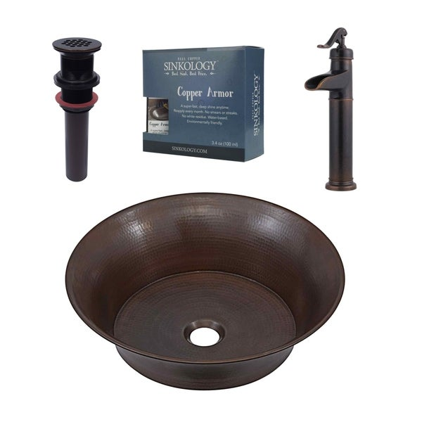 """Sinkology Copernicus 16"""" All-in-One Copper Sink & Faucet Kit"""