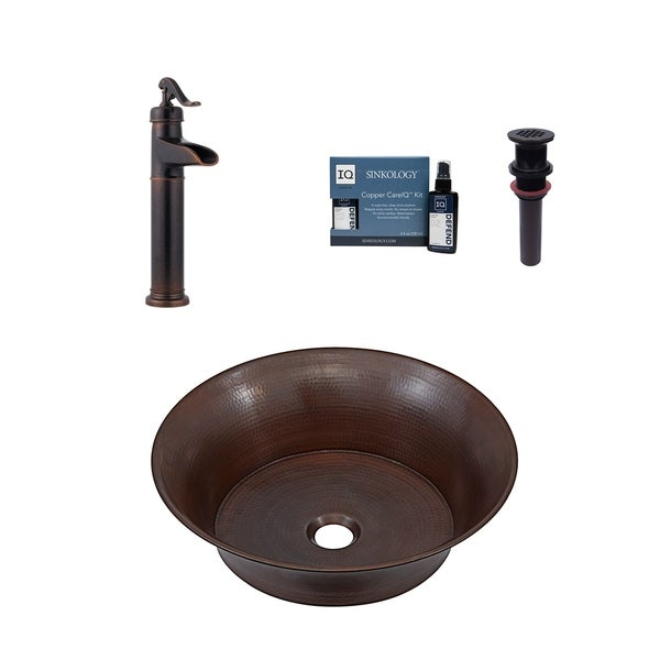 "Sinkology Copernicus 16"" All-in-One Copper Sink & Faucet Kit. Opens flyout."
