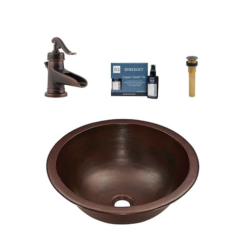 """Sinkology Darwin 16"""" All-in-One Copper Sink and Faucet Kit"""