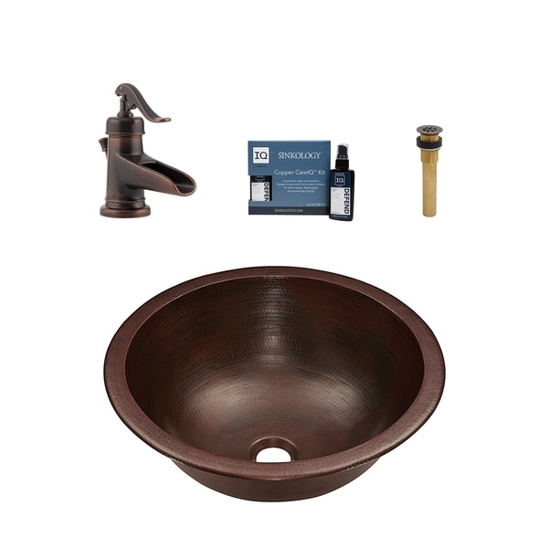 "Sinkology Darwin 16"" All-in-One Copper Sink and Faucet Kit"