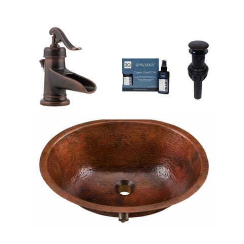 "Sinkology Freud 19""All-in-One Copper Sink and Faucet Kit"