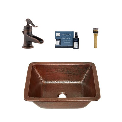 """Sinkology Hawking 17"""" All-in-One Copper Sink and Faucet Kit"""