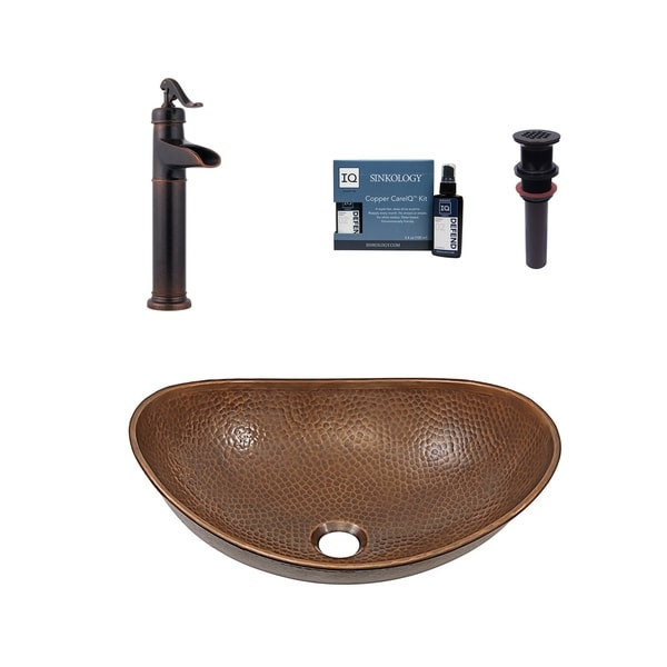 "Sinkology Confucius 19"" All-in-One Copper Sink and Faucet Kit. Opens flyout."