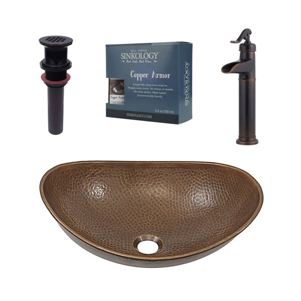 "Sinkology Confucius 19"" All-in-One Copper Sink and Faucet Kit"