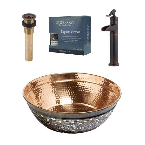 """Sinkology Bardeen 16"""" All-in-One Copper Sink and Faucet Kit"""