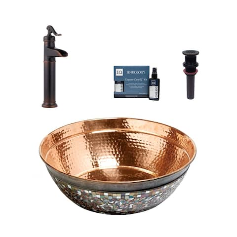"Sinkology Bardeen 16"" All-in-One Copper Sink and Faucet Kit"