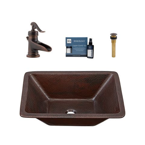 """Sinkology Hawking 20"""" All-in-One Copper Sink and Faucet Kit"""