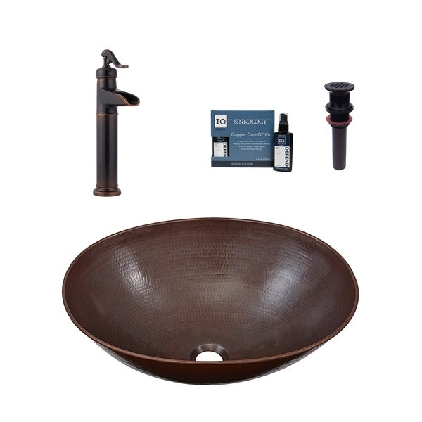 Sinkology Maxwell All-In-One Vessel Copper Sink with Pfister Faucet and Drain. Opens flyout.